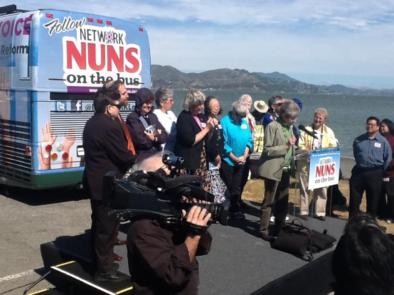 Nuns on the Bus with Angel Island in the Background