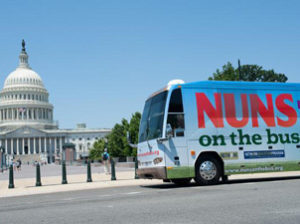 The final stop for the Nuns on the Bus tour was the Methodist Building across from the Capitol and next to the Supreme Court.